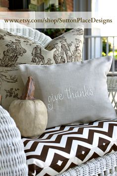 Combining the chevron with the traditional toile.  Sutton Place Designs on Etsy.