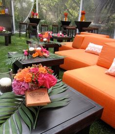 COLOR SCHEME-ORANGE/PINK/LAVENDER. #tropical weddings and strong color combinations are perfect match