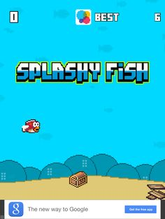 Splashy Fish - The Adventure Of A Flappy Tiny Bird Fish App  By Massimo Guareschi. Retro, endless, side scroller game.