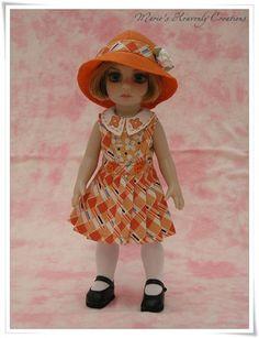 Tonner Patsy Ann Estelle Doll OOAK Orange Blouse Pleated Skirt by HeavenlyMarie toner doll, doll cloth, doll kid, doll ann, patsi doll, doll outfit, doll room, estell doll