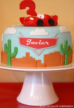 Lightning Mcqueen disney pixar's cars birthday party ideas. Cute cake! See more via www.karaspartyideas.com