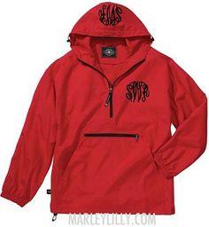 Monogrammed Red Lightweight Pullover Rain Jacket