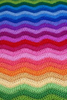 .: Rainbow Ripple Blanket great colors