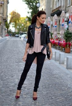 Fashion Trends for Spring 2014: 30 Outfit Ideas Inspired from the Runway #IReallyLoveThis!! leather jacketskinni, spring fashion 2014 outfits, woman fashion, outfit idea, jeans style, fashion trend, jacketskinni jean, spring fashion outfits 2014, black moto jacket outfit