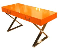 Orange Lacquered Campaign Desk by Milo Baughman.