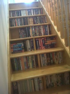 nice bookshelf space...this would be cute idea for book spines to be glued to step risers for accent.