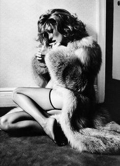 Hot   model   fur   lingerie   suspenders   smokin   drinking   shaggy carpet  