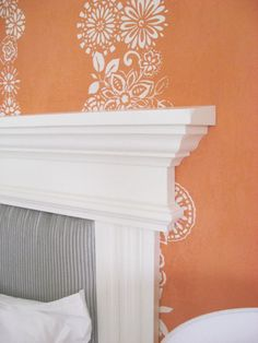 Mantel headboard from crown molding maybe...