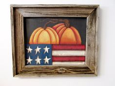 Orange Pumpkins and USA Flag Autumn Scene by barbsheartstrokes,