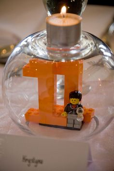 Lego table numbers...bringing a little of childhood to a wedding