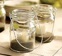 Very simple candle hangers made from recycled glass jars. sand, pottery barn inspired, candle holders, mason jar centerpieces, mason jar crafts, mason jar candles, mason jars, mason jar decorating, tea lights
