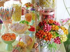 candy centerpieces, candy shop, party treats, sweet tables, candies, candy bouquet, bridal shower, candi bar, parti