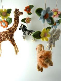 Baby Mobile Safari Mobile Felted Safari Animals