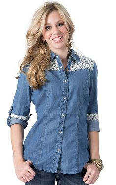 One 5 One® Women's Denim with White Lace Long Sleeve Fashion Shirt