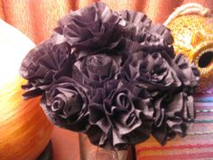 Black Crepe Paper Flowers