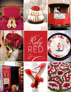 Ruby Red Wedding Inspiration #wedding #red #cake #bouquet #placesetting #shoes