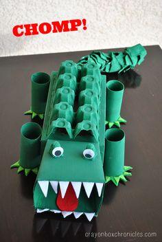 Cómo hacer un caimán con cajas de huevos, rollos de papel higiénico, cartulina de colores y pinturas.