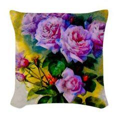 Rose Colour Pop Woven Throw Pillow