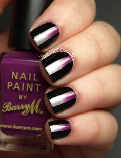 Purple to Silver Gradient Nails with Black Stripes