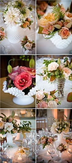 DiY matching, yet mismatched, centerpieces