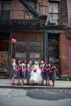 bridesmaids, pink flowers, color combos, wedding flower bouquets, bridesmaid dresses, weddings, wedding colors, bridal parties, grey dresses