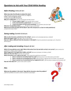 Comprehension Questions Parent Letter In Spanish and English    A concise, 2 page guide that contains questions and graphic organizers to help parents read effectively with their children at home. Send it home with your students so parents may make the most of reading time.     $1