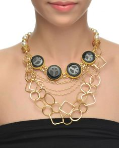 Black Peace Necklace #Jewelry #Fashion #New #Stones #Studded #Ethnic #Indian #Traditional