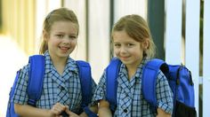 Twins Lesia and Nastia, 5, are starting school this week at Mother Of God Primary School in Ardeer. Photo: Kris Reichl