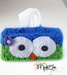 Super cute handmade owl crochet tissue box cover