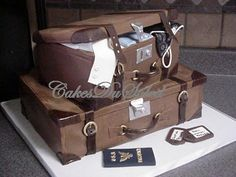 ~ Sugar Teachers ~  Cake Decorating and Sugar Art Tutorials: Vintage Stacked Luggage Cake Tutorial