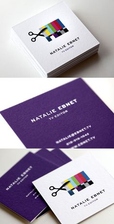 Great identity design for TV editor Natalie Ebnet.  職業をイラストで表した名刺。