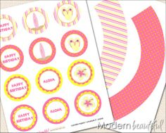 Printable Cupcake Toppers and Wrappers Aloha Hawaiian Party