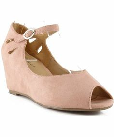 Amazon.com: Breckelle Brazil-01 Mary Jane Open Toe Mid Heel Wedges BLUSH (9): Shoes