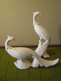 Vintage Hollywood Regency / Mid Century Pair of Peacocks - Art Deco Stylized Birds - White Ceramic Birds - Graceful, Glamorous Mad Men Decor. $34.00, via Etsy.