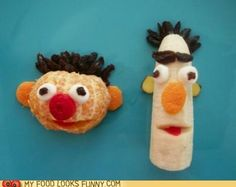 funny food photos - Childhood Snacks - Bert Banana, Ernie Orange