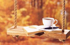 great way to spend time tea time, coffee break, teas, fall time, hot drinks, book, autumn falls, cup of coffee, swing