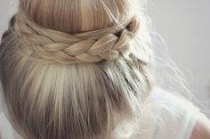 Blond braided sock bun