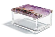 Amethyst and lucite table-top box for special notes & trinkets. Colors & clarity of the lucite mimic qualities of the Lydia lamp. | Grandin Road Color Crush on Purple Thistle