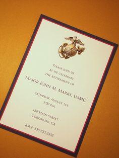 USMC Custom Invitations - Marine Corps - Any Occasion - Retirement Graduation Birthday Party - Patriotic Papers