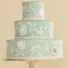 aqua-colored Cake by Jan Kish of La Petite Fleur