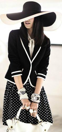 #Black with White Polka Dot skirt