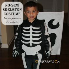 DIY Halloween: No-Sew Skeleton Costume (In Under 30 Minutes for Under $10) from Oyveyaday.com