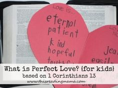What is Perfect Love for kids-based on 1 Corinthians 13- Use the heart shape as a graphic organizer | This Reading Mama
