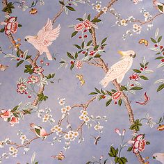 Kanchou in Wave from Brunschwig & Fils #fabric #cotton #blue #birds #floral #asian