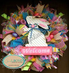 Easter Deco Mesh Wreath by Jennifer Boyd Designs.  www.facebook.com/JenniferBoydDesigns www.etsy.com/shop/JenniferBoydDesigns