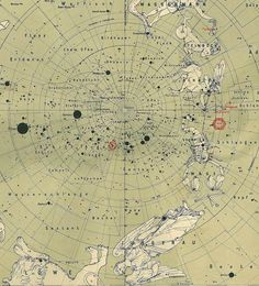 Star chart of the Southern Heavens. This is an antique copper engraving published by the Geographic Institute Justus Perthes (Gotta, Germany).     This chart was part of the 9th. edition of the Stieler Atlas and was published in 1912 with text in English, French, Spanish and Italian (a small description of the map on the back). This is an international edition and each map has a small description with text in English, French, Spanish and Italian. The map itself is in German.
