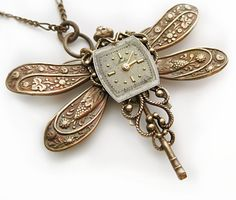 A Moment In Time - SteamPunk Dragonfly Necklace