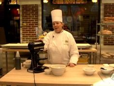 CIA Chef Instructor Alison McLoughlin demonstrates how to prepare election day cake.