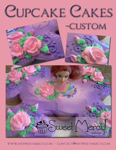 Barbie Cupcake Cake - A Barbie cupcake cake made from our signature vanilla cupcakes and topped with whipped cream icing. The cake used 16 cupcakes. via Cake Central
