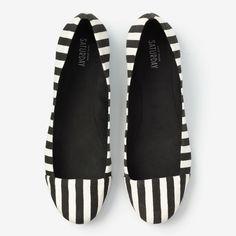 Half #Circle #Flat in B #Stripe #white, #black, women's #shoe